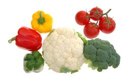 Some fresh vegetable. Four different colorful and essential vegetable isolated on white background Royalty Free Stock Photos