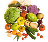 Some fresh vegetable and fruits. Fresh vegetable and fruits on white background stock images