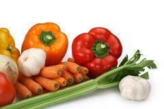 Some fresh vegetables. Closeup on some fresh vegetables royalty free stock images