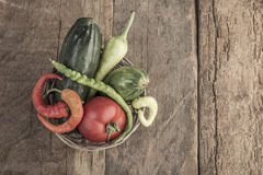 Some fresh vegetables in a basket Stock Photos
