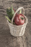 Some fresh vegetables in a basket Royalty Free Stock Photography