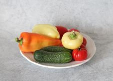 Some fresh vegetables. On a plate Stock Image