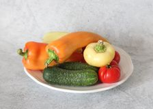 Some fresh vegetables. On a plate royalty free stock image