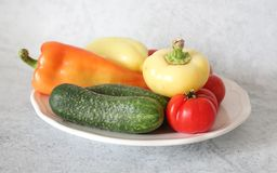 Some fresh vegetables. On a plate royalty free stock photo