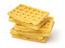 Some fresh waffles. On a white background stock photography