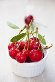 Some Freshly picked Cherries in a Bowl Royalty Free Stock Images