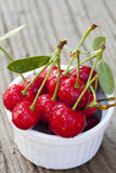 Some Freshly picked Cherries in a Bowl Royalty Free Stock Image