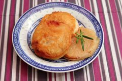 Fried pork meat. Some fried pork meat with a panade of bread Royalty Free Stock Images
