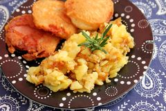 Pork meat with potatoes. Some fried pork meat with potaoes and onions Royalty Free Stock Photography