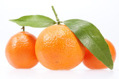 Some fruits of clementine on white background Stock Photo