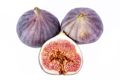 Some fruits of fresh fig isolated on white background.  Stock Photos