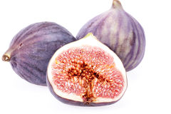 Some fruits of fresh figs isolated on white background.  Stock Photo