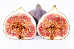 Some fruits of fresh figs isolated on white background. Close up Stock Photo