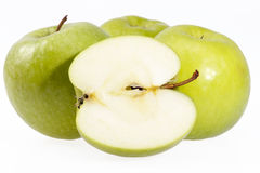 Some fruits of green apple on white background.  royalty free stock image