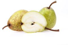 Some fruits of green pear isolated on white background.  royalty free stock image