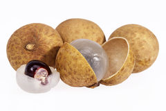 Some fruits of longan isolated on white background.  Royalty Free Stock Image