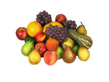 Some fruits over a white background. Ingredientes for a fruit salad: apples, oranges, grapes, pears, peaches stock photo