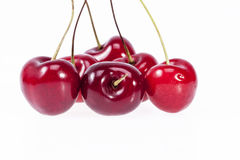 Some fruits of red cherry isolated on white background.  royalty free stock image