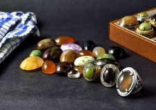Some gemstone on the table Royalty Free Stock Photos