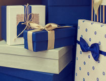 Some gift boxes. Blue and wite color Stock Photos