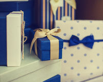 Some gift boxes. Blue and wite color Royalty Free Stock Photography