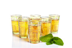 Some Glass Cups Of Tea With Leaves Of Mint Stock Image
