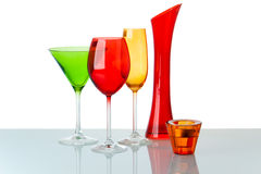Some glasses on white background. Several multi-colored decorative glasses on a white background. Clipping mask royalty free stock photos