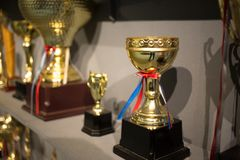 Golden winning cups. Some golden winning cups in the room stock photos