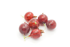 Some gooseberries on white. Tasty red gooseberries closeup on white background Royalty Free Stock Photo
