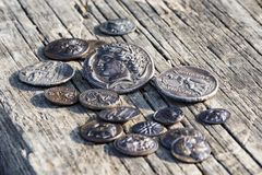 Some Greek metal ancient coins stock photo