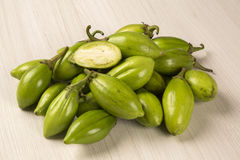 Some green african eggplants over a white background. Fresh vegetable Royalty Free Stock Image
