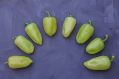 Some green bell peppers on grey background royalty free stock image