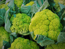 Some green cauliflower in a street market. Natural vegetables royalty free stock image