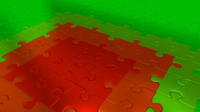 Green Puzzle Pieces on all other the floor becoming Red pieces. Some Green Puzzle Pieces on all other the floor becoming Red pieces Royalty Free Stock Image