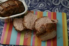 Meatloaf. Some grilled meatloaf of pork meat with cheese Royalty Free Stock Images