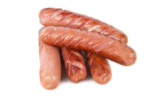 Some grilled sausages. Grilled sausages  on a white background Stock Photos