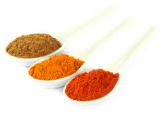 Some ground spices on white spoons. Over white background Royalty Free Stock Photo