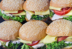 Some hamburgers with cheese in shop-window. Some hamburger with cheese in shop-window Stock Image