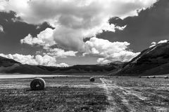 Some hay bales on Castelluccio di Norcia Umbria cultivated fie. Lds, with deep sky and white clouds Royalty Free Stock Images