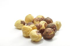 Some hazelnuts. Nuts on a white background royalty free stock photography