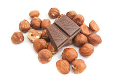 Some hazelnuts and chocolate bar. Some hazelnuts and chocolate on white background closeup royalty free stock images