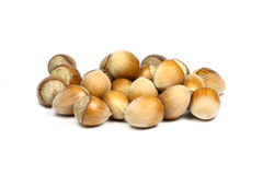 Some hazelnuts. On a white background royalty free stock image