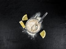 Portion of fresh Lemon powder selective focus; close-up shot Royalty Free Stock Photo