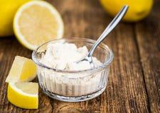 Portion of fresh Lemon powder selective focus; close-up shot. Some healthy Lemon powder selective focus; close-up shot Stock Photo