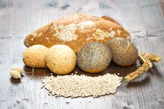 Healthy multi grain bread on wood. Some healthy multi grain bread on wood Stock Photo