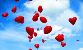 Some heart balloons. On the sky Royalty Free Stock Photography