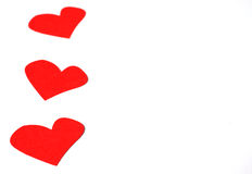 Some hearts on white paper Royalty Free Stock Images