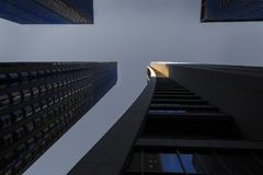 Some highrises in Chicago. Shot from below stock photos