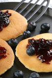 Some home made pancakes. With fresh blueberries stock photography