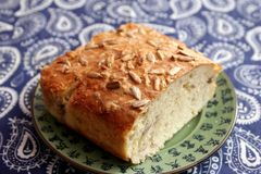 Bread with sunflower seeds. Some homemade bread of wheat flour with sunflower seeds Royalty Free Stock Photography